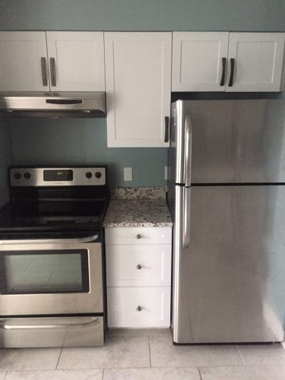 Modern kitchen stove and fridge